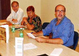 Juan Francisco Montalbán, Leonor Amaro y Aurelio Francos en la presentación.