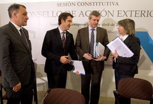 Núñez Feijóo, Rueda y Quintana durante la constitución del CAEX.