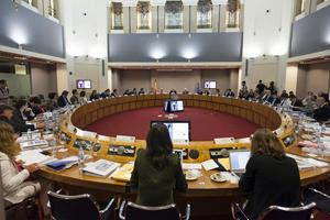 Asamblea General de EUNIC en la sala de la cúpula del Instituto Cervantes, en Madrid.
