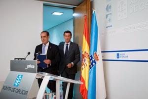 El presidente Alberto Núñez Feijóo y el conselleiro Valeriano Martínez.