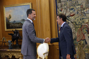 El presidente gallego, Alberto Núñez Feijóo, fue recibido por el Rey Felipe VI en el Palacio de La Zarzuela.
