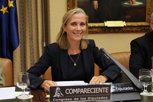 La secretaria general de Inmigración y Emigración, Marina del Corral, durante su comparencia en la Comisión de Empleo y Seguridad Social del Congreso de los Diputados.