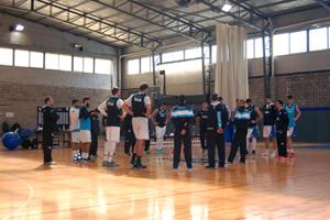 Imagen del último entrenamiento del seleccionado argentino en el gimnasio del campo de deportes de la institución en Olivos.