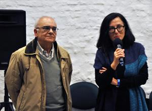 El presidente del Patronato, José Otero, y la productora de cine Chelo Loureiro.