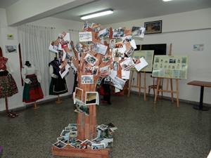 El árbol de madera en el que se colocaron cientos de fotos de la historia de los emigrantes zamoranos en Buenos Aires.