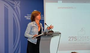 La consejera Meritxell Borrás informando sobre los resultados de las elecciones catalanas.