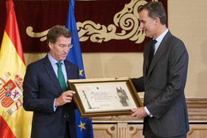 Núñez Feijóo entrega su credencial como Embajador del Camino al Rey Felipe VI.