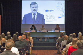 Rafael Rodríguez-Ponga, secretario general del Instituto Cervantes y presidente de EUNIC Global, se dirigió a los presentes a través de un vídeo grabado, puesto que se encontraba de viaje oficial en Bruselas.