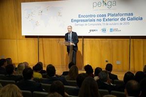 El conselleiro de Economía, Emprego e Industria, Francisco Conde, durante su intervención en el Encuentro de las Plataformas Pexga 2015.
