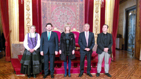 Miranda en el acto celebrado en el Salón del Trono del Palacio de Navarra.