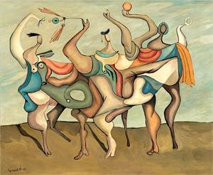 La obra Figuras, 1990 del pintor Eugenio Fernández Granell, que pertenece a la Colección de la Dirección General de Aduanas, República Dominicana.