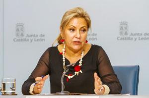 La vicepresidenta Rosa Valdeón tras la reunión del Consejo de Gobierno.