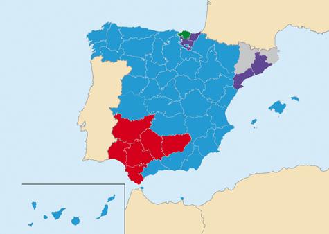 En azul las circunscripciones electorales donde ganó el PP, en rojo el PSOE, en morado Podemos, en gris DL y en verde el PNV.
