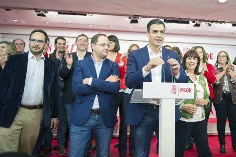 Comparecencia de Pedro Sánchez tras conocer los resultados.