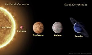 Recreación del sistema planetario bautizado con los nombres de Cervantes (la estrella central), Quijote, Sancho, Dulcinea y Rocinante (los planetas que la orbitan).