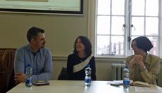 Ignacio Aragoneses, Maya Velásquez y Leticia Medina durante la presentación.