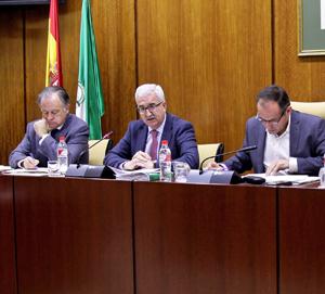 En el centro el vicepresidente de la Junta, Manuel Jiménez Barrios, durante su comparecencia parlamentaria.