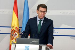 El presidente de la Xunta, Alberto Núñez Feijóo, en rueda de prensa tras el Consello.