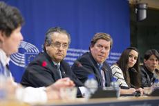 Gabriel Mato (centro), durante la rueda de prensa.