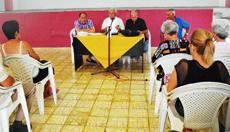 Longinos Valdés, Manuel Vallejo, Juan Luis López y Domingo Teijido durante la reunión organizada en Matanzas.
