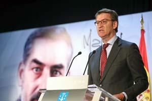 Alberto Núñez Feijóo, durante su discurso oficial del Día das Letras Galegas.