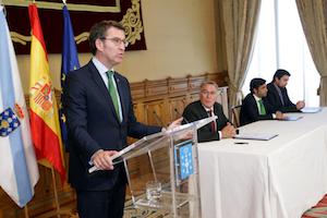 El presidente de la Xunta de Galicia, Alberto Núñez Feijóo, intervino en el acto tras la firma del acuerdo.