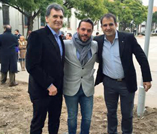 El presidente de Ajdera, en el centro, junto a Avruj y Croci en el Espacio de la Memoria y Derechos Humanos.