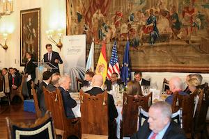 El presidente gallego, Alberto Núñez Feijóo, durante su intervención en la recepción ofrecida a la Fundación Consejo España-EEUU.