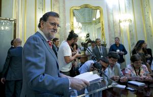Mariano Rajoy compareció ante la prensa tras reunirse con el líder del PSOE, Pedro Sánchez, el pasado 13 de julio.