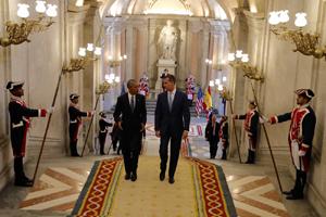 Felipe VI recibió a Barack Obama en el Palacio Real de Madrid.