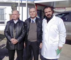 José María García Álvarez, Martín Rodríguez Caridad y el director de la escuela, Julio Olagorta.