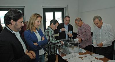 Antonio Rodríguez Miranda acudió al escrutinio del voto exterior celebrado en Ourense.