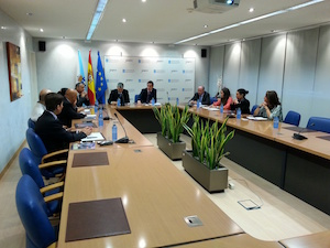 Una imagen de la reunión con la delegación china.