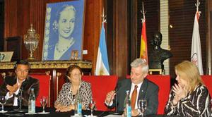 Presti, Pegito, Raposo Varela y Alonso durante el acto celebrado en el Salón Eva Perón de la Legislatura.