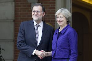 Mariano Rajoy recibió a Theresa May en el Palacio de La Moncloa.