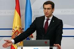 Feijóo durante la rueda de prensa posterior al Consello de la Xunta.