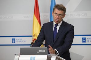 El presidente de la Xunta en funciones, Alberto Núñez Feijóo, tras el Consello.