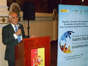 Miras Portugal durante su intervención en el encuentro de hospitales y sociedades españolas de beneficencia en América.