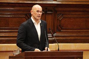 Intervención de Raül Romeva en el Parlament de Cataluña.