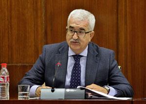 El vicepresidente de la Junta, Manuel Jiménez Barrios, durante su intervención ante la Comisión de Presidencia y Adminitración Local del Parlamento de Andalucía.