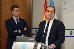 El conselleiro de Facenda, Valeriano Martínez, explicó el techo de gasto en presencia del presidente Núñez Feijóo.