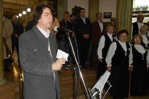 Carlos Rodríguez Brandeiro en el acto de celebración del Día de Galicia en el Centro Gallego de Buenos Aires el pasado mes de julio.