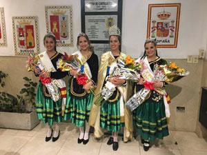 La nueva Reina de la institución, en el centro, acompañada por sus princesas.