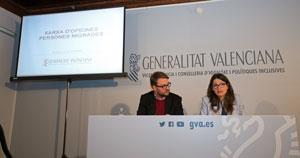 Alberto Ibáñez y Mónica Oltra presentaron la nueva red de oficinas en rueda de prensa.