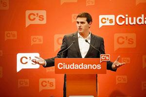 El presidente de Ciudadanos, Albert Rivera, en la rueda de prensa ofrecida el pasado 9 de enero.