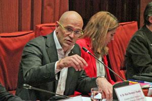 El conseller Raül Romeva en la Comisión de Acción Exterior y Cooperación, Relaciones Institucionales y Transparencia del Parlament de Catalunya.
