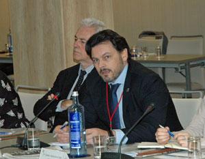El secretario da Emigración, Antonio Rodríguez Miranda, en su intervención en el pleno del CGCEE.