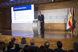 El presidente de la Xunta, Alberto Núñez Feijóo, en el encuentro de trabajo con motivo de los 100 días del actual Gobierno gallego.