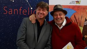 Lázaro junto al director del Certamen Internacional de Cortos de Soria, Javier Muñiz.