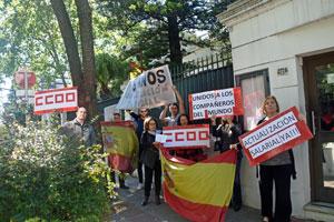 Protestas ante el Consulado de España en Montevideo el lunes 16 de octubre.